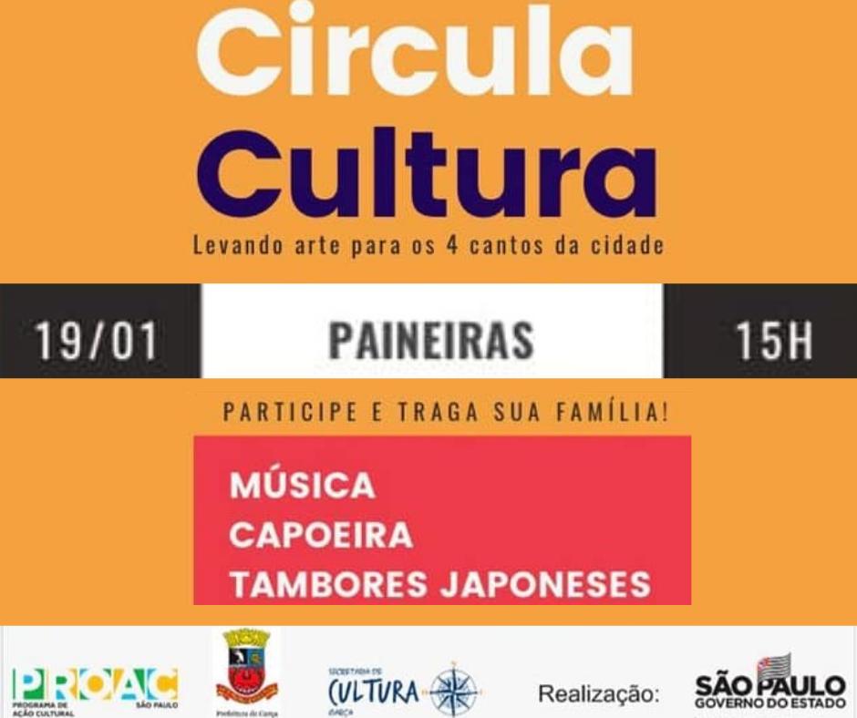 Circula Cultura acontece dia 19 de janeiro no Jardim Paineiras