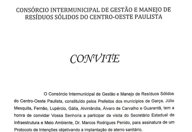 Secretário estadual de Infraestrutura e Meio Ambiente visita Garça nesta sexta-feira