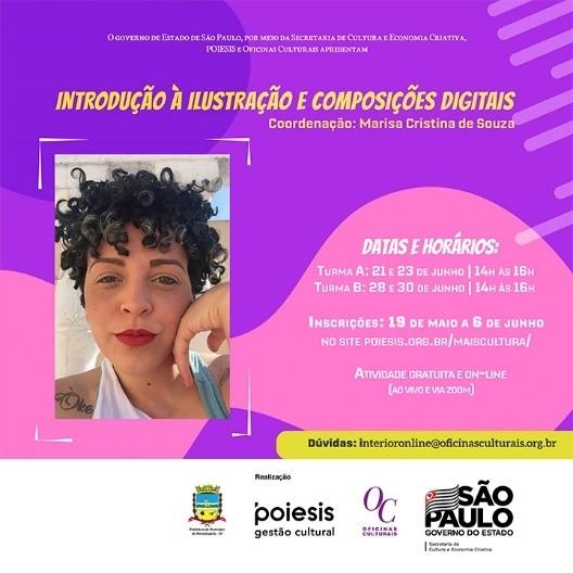 """Secretaria de Cultura realiza hoje e quarta-feira oficina """"Introdução à Ilustração e Composições Digitais"""""""