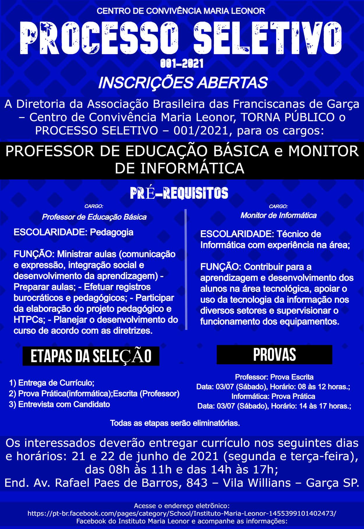 Centro de Convivência Maria Leonor abre Processo Seletivo para Professor e Monitor
