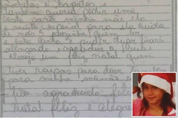 Menina enviou carta ao Papai Noel uma semana antes de ser morta