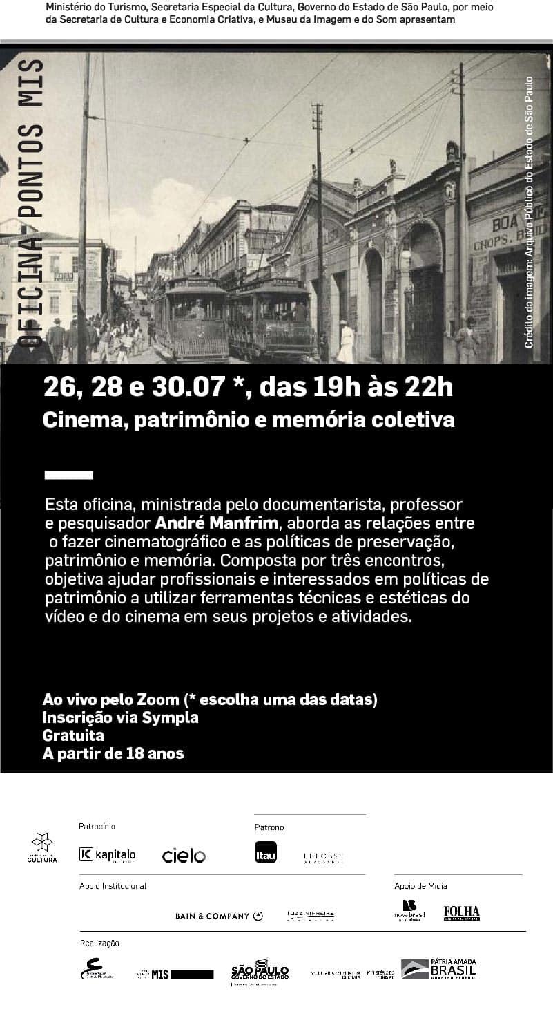 """Ponto MIS está com inscrições abertas para oficina """"Cinema, patrimônio e memória coletiva"""""""