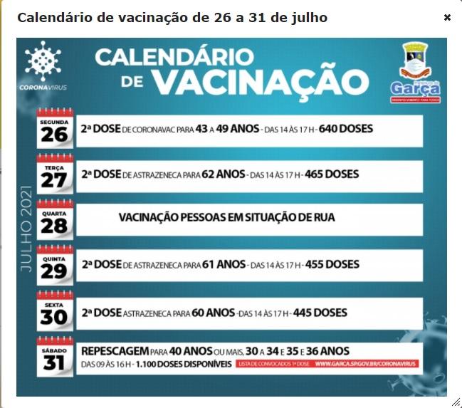 Secretaria de Saúde divulga calendário de vacinação contra covid-19