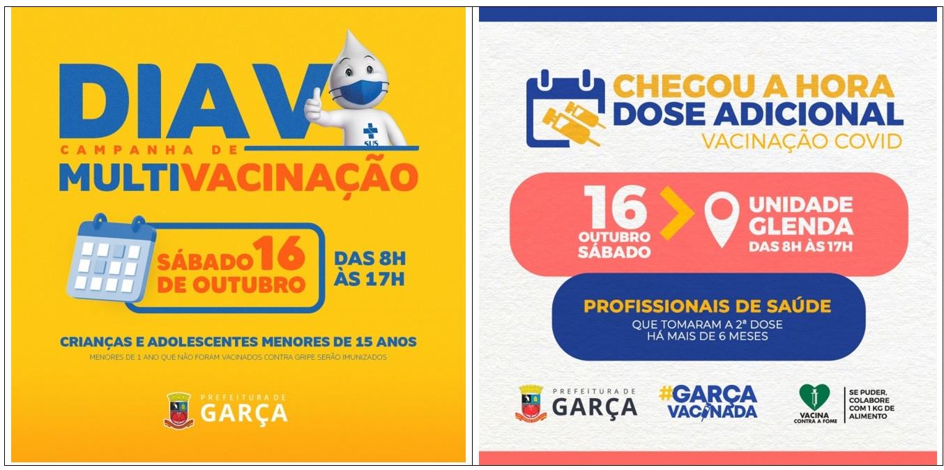 Garça: amanhã é o Dia V da campanha de multivacinação e 3ª dose para profissionais da saúde