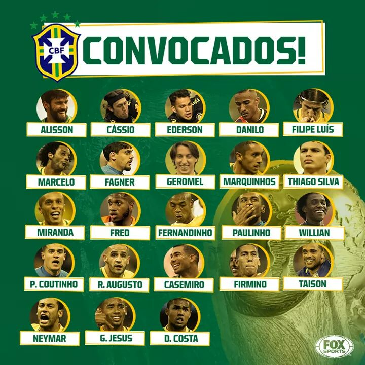 Veja a lista de convocados da Seleção Brasileira para a Copa da Rússia